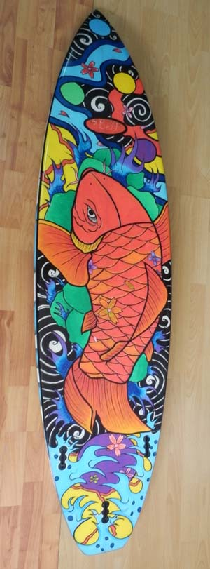 Surfboard paint with paint pens