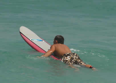 Laying too far back on the surfboard