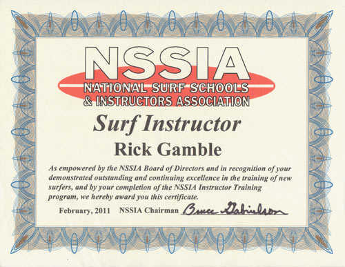 Surf Instructor Certificate