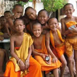 Thai children at the temple