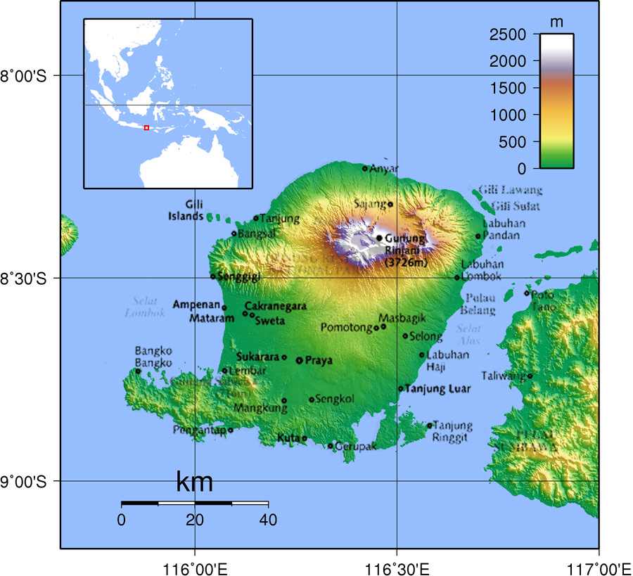 Thailand Topographic Map.Lombok Indonesia Topography Map Of Lombok