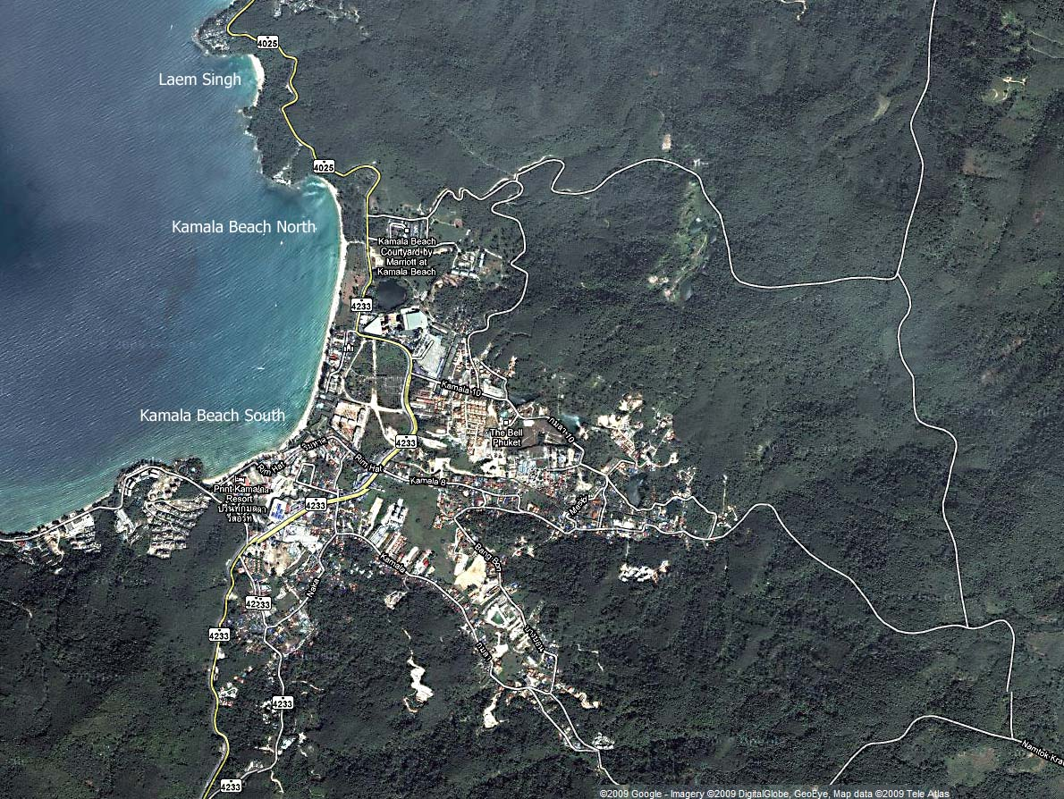 Large map of Kamala beach Phuket Thailand