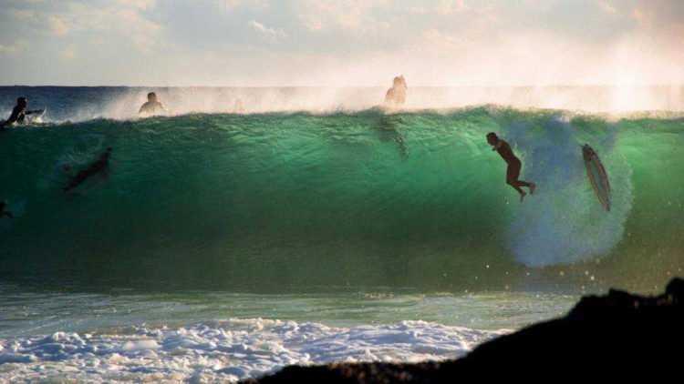 Falling off a Surfboard