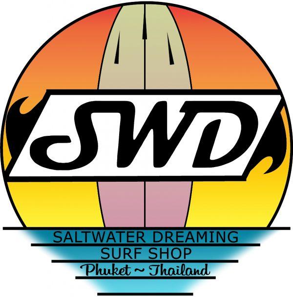 Saltwater Dreaming Tee Shirt Surfboard Sunset White