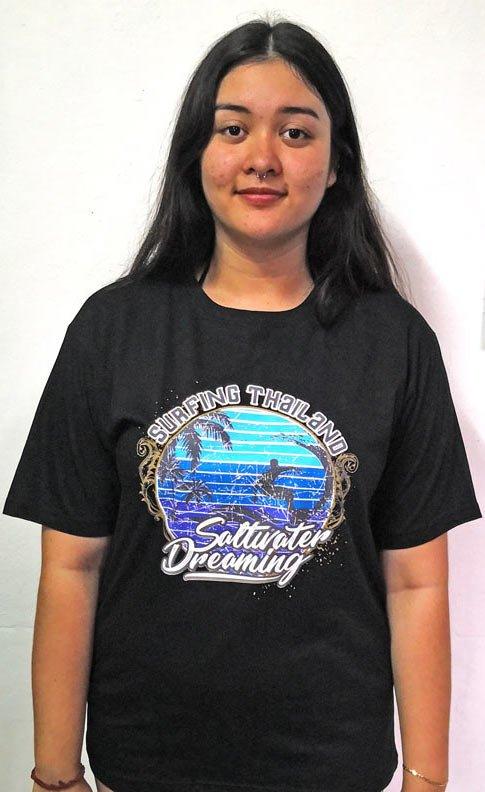 Saltwater Dreaming Tee Shirt Surfing Thailand Black